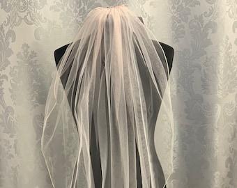 "Blush Pink Wedding Veil, 32"" Pencil Edge - Single Layer Soft Blush Pink Tulle Wedding Veil, Waist Length"