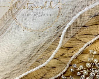 "Wedding Veil, 98"" Beaded Edge - Single Layer Soft Tulle Veil, 98 inches, 250 cm - Ivory Veil, Chapel Length, Beautiful Boutique Veil"