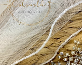 "43"" Beaded Edge Wedding Veil - Soft Tulle Wedding Veil with glass beaded edge, Ivory, 43inches, 110cm,  Fingertip, Length, Beautiful Veil"