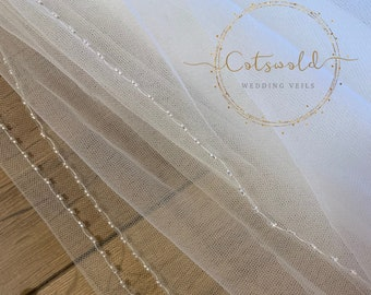 "87"" Glass Beaded Edge Wedding Veil - 2 Tier Soft Tulle Veil 87"", 87 inches, 220cm - Ivory Veil, Glass Beaded Veil"