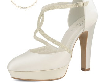 Beautiful Bridal Shoes, Ivory Satin Brides Shoes, T Bar, High Heel, Glitter Trim, Platform Bridal Shoes