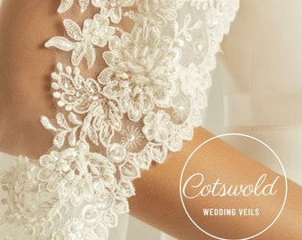 """Beautiful Cathedral Lace Bridal Veil, Lace Edge - Single Layer Soft Tulle Wedding Veil, 118"""", 300cm"""