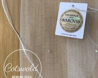 "79"" Swarovski Wedding Veil,  Pencil Edge - Single Layer Tulle Veil 79 inches, 200 cm - Ivory Veil, Floor Length, Genuine Swarovski Veil"
