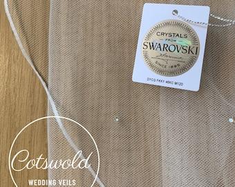 "98"" Swarovski Crystal Wedding Veil,  Pencil Edge Single Layer, Soft Tulle Veil 250 cm - Ivory Veil, Chapel Length"