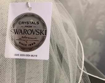 "98"" Swarovski Crystal Wedding Veil,  Pencil Edge Single Layer, Soft Tulle Veil 250 cm - Ivory Veil, Chapel Length"