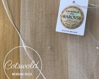 Crystal Chapel Length Rhinestone Wedding Veil,  Pencil Edge 2 Tier, Soft Tulle Ivory Veil