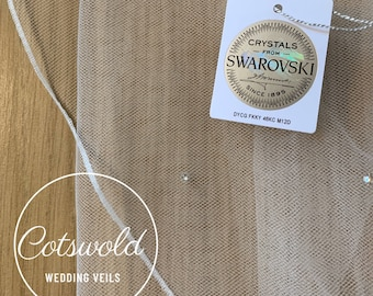 "87"" Swarovski Wedding Veil, Pencil Edge,  Single Layer Soft Tulle Veil 87 inches, 220 cm - Ivory Veil, Floor Length"