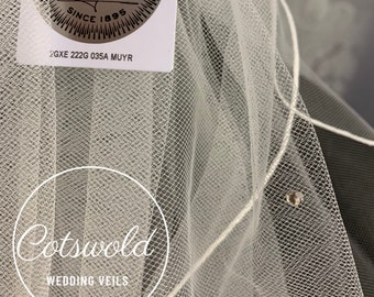 "32"" Crystal Wedding Veil,  Pencil Edge - Two Tier, Soft Tulle Veil Ivory Veil, Waist Length"