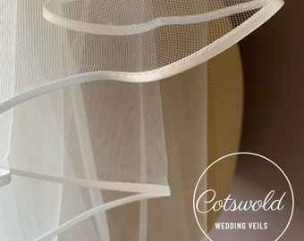 "Waist Length Satin Edge Wedding Veil,  Single Layer Soft Tulle 32"" Ivory Veil"