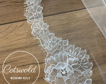 """79"""" Wedding Veil, French Lace Edge Veil - Single Layer Soft Tulle Veil,  79 inches, 200 cm, Ivory Veil, Floor Length, French Lace Veil"""