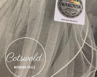 "32"" Crystal Swarovski Wedding Veil,  Pencil Edge - Two Tier Soft Tulle Veil Ivory or White Veil, Waist Length"