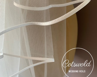 "Wedding Veil, 24"" Veil Satin Edge - Single Layer Soft Tulle Wedding Veil, 24 inches, 61cm - Ivory Veil, Elbow Length"
