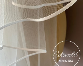 "Wedding Veil, 28"" Satin Edge - Single Layer Soft Tulle Veil, 28 inches, 70 cm - Ivory or White Waist Length Veil"