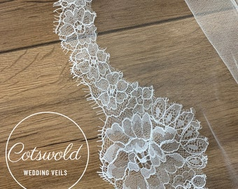 "87"" Beautiful French Lace Wedding Veil, 2 Tier Soft Tulle Lace Edge Veil, 87 inches, 220 cm - Ivory Veil, Chapel Length, Lace Wedding Veil"