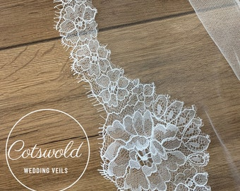"""118"""" French Lace Edge - Single Layer Soft Tulle Wedding Veil, 118 inches, 300cm - Ivory Veil, Cathedral Length"""