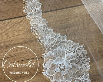 "118"" French Lace Edge - 2 Tier Soft Tulle French Lace Wedding Veil, 118 inches, 300cm - Ivory Veil, Cathedral Length"