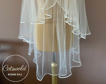 "Hip Length Satin Edge - Single Layer Soft Tulle Wedding Veil, 36"" Ivory or White Veil"