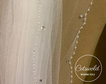 "32"" Genuine Swarovski Bridal Wedding Veil,  Beaded Edge - 2 Tier Soft Tulle Veil 32 inches, 82 cm - Ivory Veil, Waist Length"