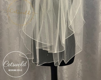 "28"" Crystal Wedding Veil,  Pencil Edge - Two Tier Soft Tulle Veil 2, Ivory Veil, Waist Length"