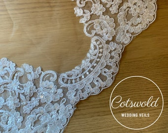 "Fingertip Lace Wedding Veil,  Lace & Beaded Single Layer Soft Tulle Ivory Wedding Veil with a beaded Lace edge 43"", 110cm"