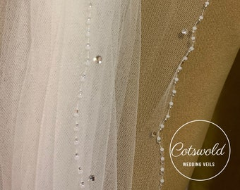 "118"" Swarovski Crystal Bridal Wedding Veil,  Beaded Edge - 2 Tier, Soft Tulle Veil 118 inches, 300 cm - Ivory Veil, Cathedral Length"