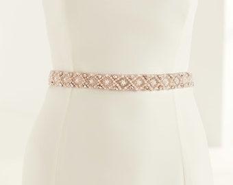 Beautiful Rose Pink Sparkling Crystal & Pearl Bridal Belt, Satin Belt with Pearl and Crystal Embellishment,  Wedding Dress Belt