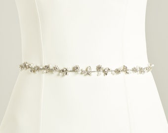 Delicate Crystal & Pearl Floral Bridal Belt, Belt with Pearl and Crystal Embellishment,  Wedding Dress Belt