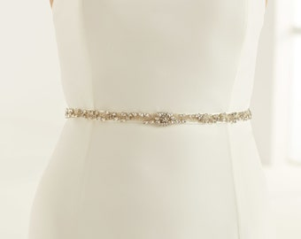 Beautiful Sparkling Crystal & Pearl Bridal Belt, Satin Belt with Embellishment Crystal Belt,  Wedding Dress Belt, Ivory