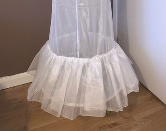Wedding Dress Underskirt, Bridal Petticoat, Bridal Gown Petticoat with 2 Hoops & Ruffle , Lingerie, 190cm Hoop, Ivory or White