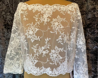 Boat Neck Floral Lace Bolero - Wedding Dress Cover Up, Bridal Accessories,  Ivory Lace Shrug, Bridal Top