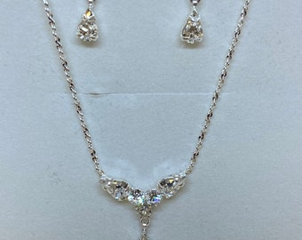 Shimmer Bridal Necklace Set, Earrings & Necklace Set, Wedding Jewellery, Bridal, Bride, Bridesmaid, Crystal Necklace and Matching Earrings