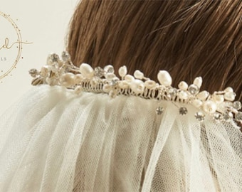 Beautiful Wedding Veil Clip - Cerys, pearl & crystal Veil Clip, Veil Accessories, bridal accessories, veil embellishment