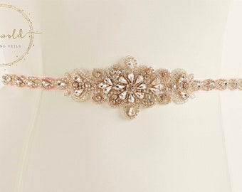 Stunning Crystal & Pearl Bridal Belt, Pink Organza Belt,  Wedding Dress Belt, Pink