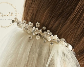 Beautiful Wedding Veil Clip - Ellie, Floral & Crystal Veil Clip, Bridal Hair Accessories, Bridal Accessories