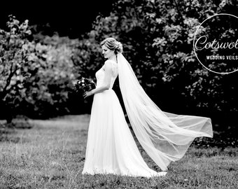 "67"" Corded Edge Wedding Veil , Pencil Edge - Single Layer Soft Tulle Wedding Veil, 67 inches, 170 cm - Ivory or White Veil, Floor Length"