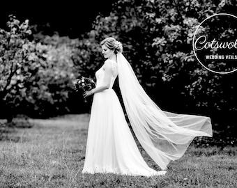 "67"" Genuine Swarovski Bridal Wedding Veil,  Corded Edge - Single Layer Tulle Veil 67 inches, 170 cm - Ivory Veil, Floor Length"