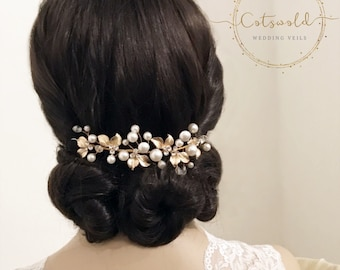 Beautiful Mini Luxe Hair Vine,  Crystal, Pearl Hair Vine, Wedding Hair Accessories, Available in Silver or Rose Gold, Bridal Accessories