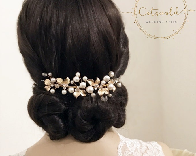 Featured listing image: Beautiful Mini Luxe Hair Vine,  Crystal, Pearl Hair Vine, Wedding Hair Accessories, Available in Silver or Rose Gold, Bridal Accessories