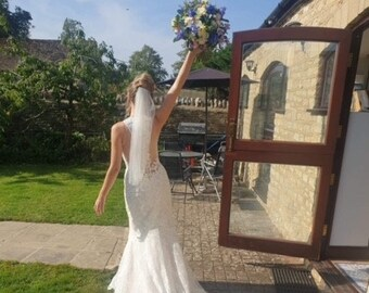 """Waist Length Cut Edge Veil - Single Layer Soft Tulle Wedding Veil 28"""", 28 inches, 70 cm - Ivory Veil"""