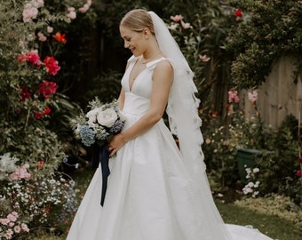 """Cathedral French Lace Edge - 2 Tier Soft Tulle French Lace Wedding Veil, 118 inches, 300cm - Ivory Veil, 118"""""""