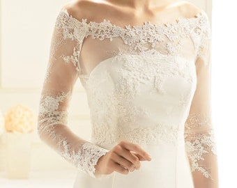 Beautiful Stretch tulle & Lace Bolero - Wedding Dress Cover Up Accessories,  Ivory Lace, Bridal Top