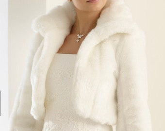 Stunning Faux Fur Jacket, Fur Bolero,  Wedding Shrug, Bridal Cover Up, Brides, Bridesmaid, Ivory Faux Fur Wedding Jacket