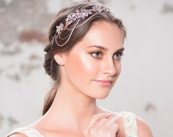 Beautiful Luxury Bejewelled Gatsby Style Headpiece, Bridal Accessories, Bridesmaid Hair, Bridal Headpiece,  Silver or Rose Gold