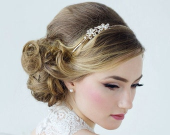 Aimee Sweet Vintage Headband, Pearl, Crystal , Floral Headband, Bridal Accessories, Bridesmaid Hair, Bridal Headband, Silver or Gold