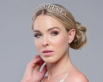 Jewel Bridal Tiara, Wedding Tiara, Bridal Accessories, Rose Gold, Silver or Gold Tiara, Brides, Bridesmaid