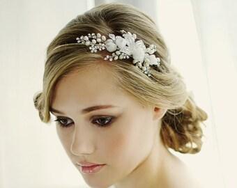 Clara Romantic Headband, Pearl, Crystal , Floral Headband, Bridal Accessories, Bridesmaid Hair, Bridal Headband, Silver or Gold