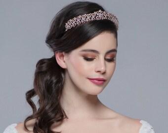 Luxe Bridal Tiara, Wedding Tiara, Bridal Accessories, Rose Gold or Silver Tiara, Brides, Bridesmaid, Christabel
