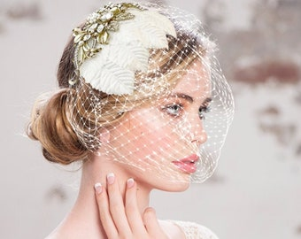 Regal Luxe Birdcage Veil, Ivory Antique Gold Birdcage Veil, Crystal Embellished Birdcage Veil, Bridal Accessories, Bridal Hair