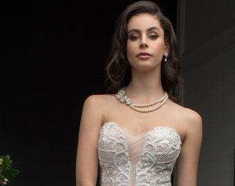 Vintage Regal Pearl Necklace & Earrings Set, Wedding Jewellery, Bridal, Bride, Bridesmaid