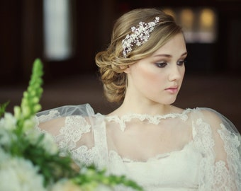 Darcey Wedding Headband, Pearl, Crystal , Floral Headband, Bridal Accessories, Bridesmaid Hair, Bridal Headband, Silver or Rose Gold